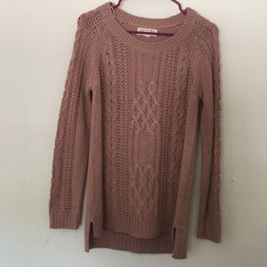 Dusty Rose Chunky Cable Knit Sweater